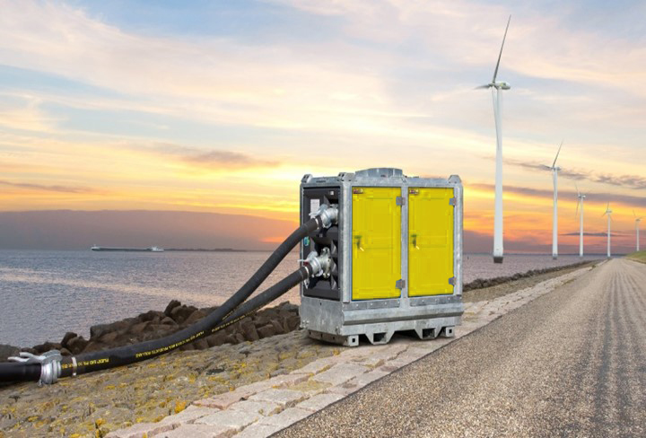 Hydrainer Submersible Pump with scenic background